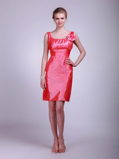 Square Sheath/Column Short/Mini Taffeta Flower(s) Bridesmaid Dresses #DOB02013623