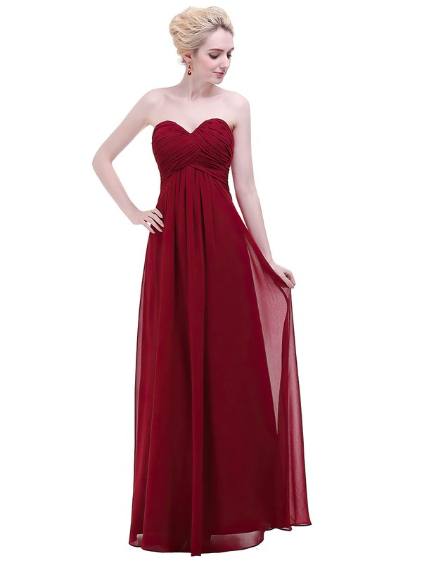Chiffon Empire Sweetheart Floor-length with Ruffles Bridesmaid Dresses #DOB01013456