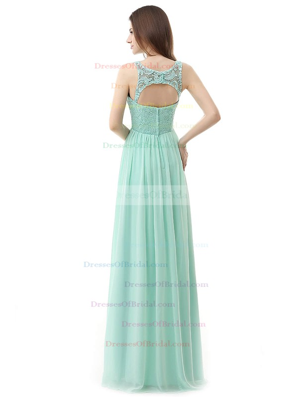 Chiffon A-line Scoop Neck Floor-length with Lace Bridesmaid Dresses #DOB01013459