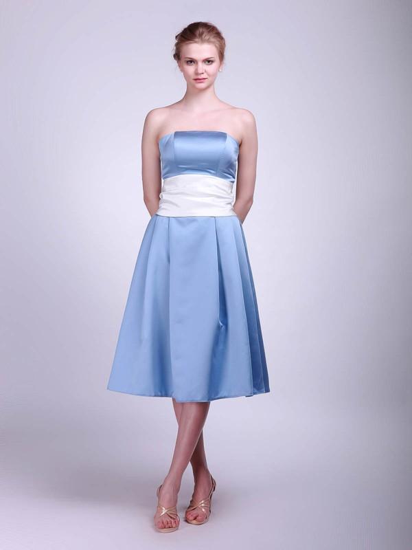 Strapless A-line Tea-length Satin Sashes/Ribbons Bridesmaid Dresses #DOB02013624