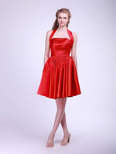 Halter Ball Gown Short/Mini Satin Pleats Bridesmaid Dresses #DOB02013628