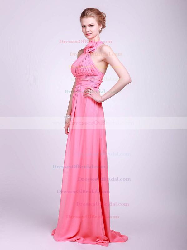 Halter Empire Floor-length Chiffon Flower(s) Bridesmaid Dresses #DOB02013629