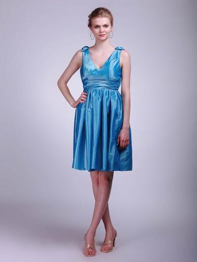V-neck A-line Short/Mini Taffeta Pleats Bridesmaid Dresses #DOB02013631