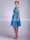 V-neck A-line Short/Mini Taffeta Pleats Bridesmaid Dresses #DOB02013631