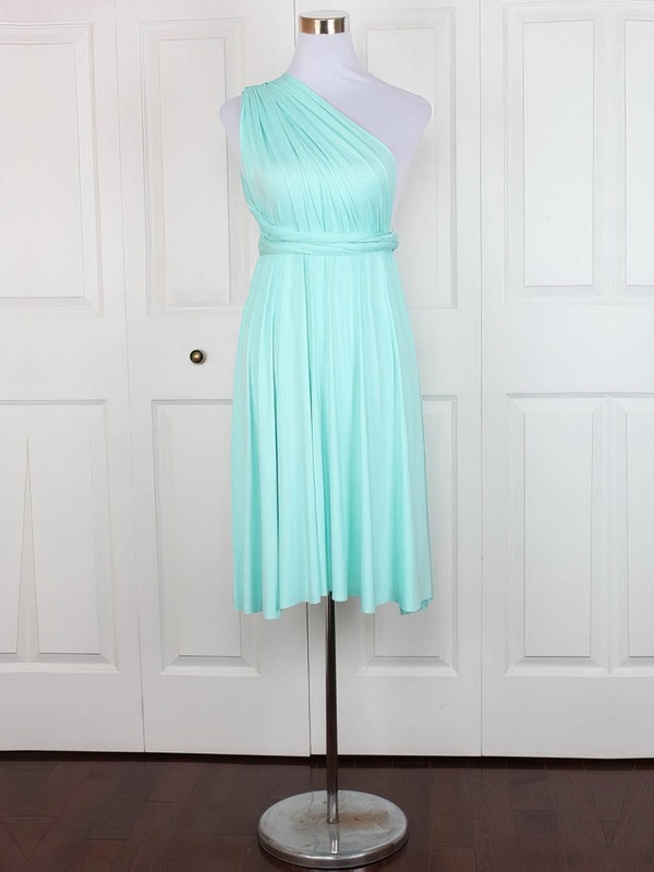 Jersey A-line One Shoulder Short/Mini with Ruffles Bridesmaid Dresses #DOB01013128