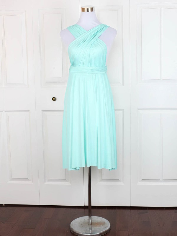 Jersey A-line V-neck Short/Mini with Ruffles Bridesmaid Dresses #DOB01013129