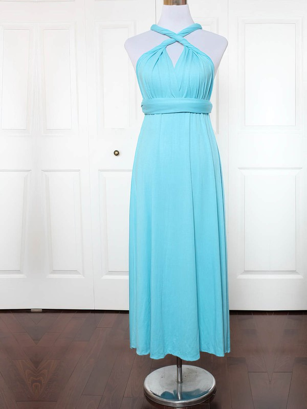 Jersey A-line V-neck Ankle-length with Ruffles Bridesmaid Dresses #DOB01013130