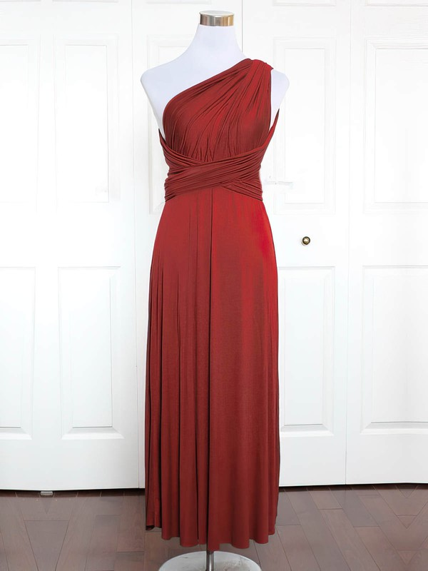 Jersey A-line One Shoulder Ankle-length with Ruffles Bridesmaid Dresses #DOB01013131