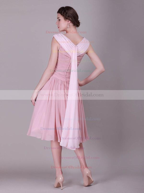 Bateau A-line Knee-length Chiffon Pleats Bridesmaid Dresses #DOB02013632