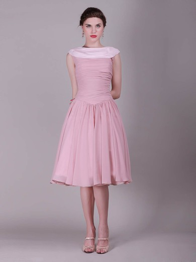 Bateau A-line Knee-length Chiffon Pleats Bridesmaid Dresses #DOB02013632