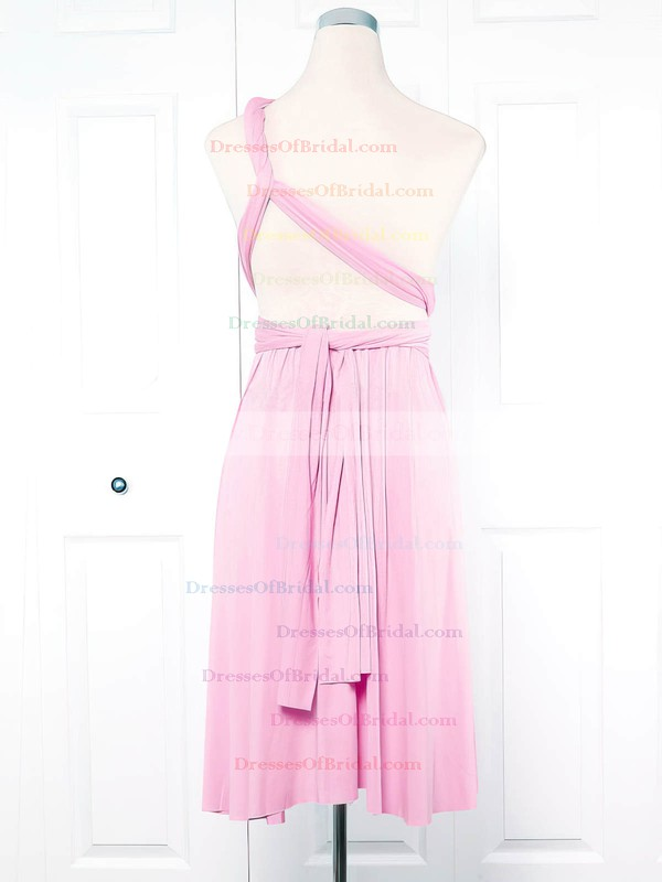 Jersey Empire One Shoulder Short/Mini with Ruffles Bridesmaid Dresses #DOB01013133