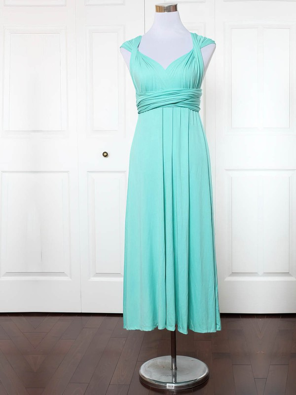 Jersey Empire V-neck Ankle-length with Ruffles Bridesmaid Dresses #DOB01013135