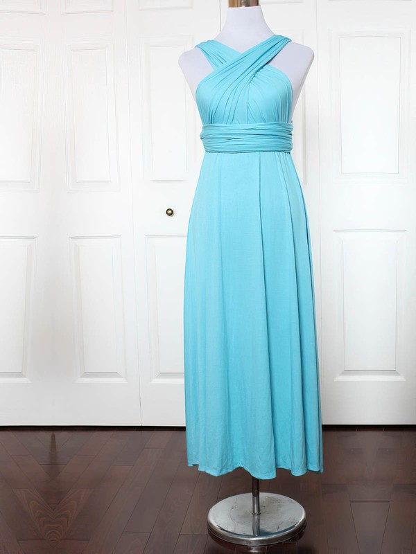 Jersey A-line V-neck Ankle-length with Ruffles Bridesmaid Dresses #DOB01013136