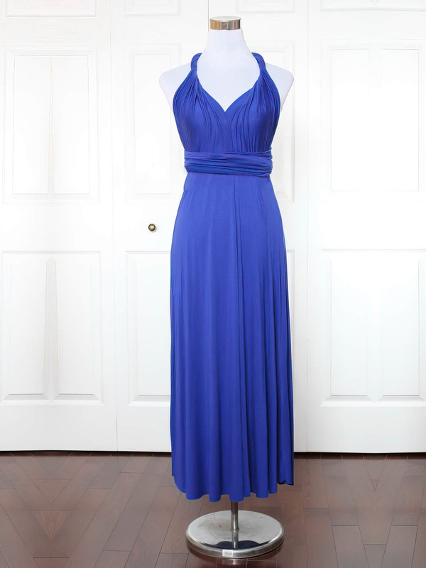 Jersey A-line V-neck Ankle-length with Ruffles Bridesmaid Dresses #DOB01013137