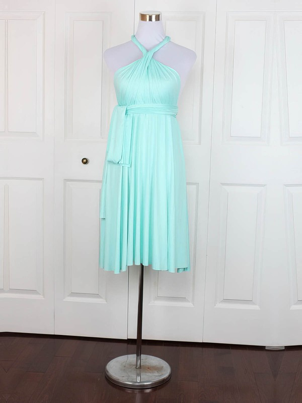 Jersey Empire V-neck Short/Mini with Ruffles Bridesmaid Dresses #DOB01013138