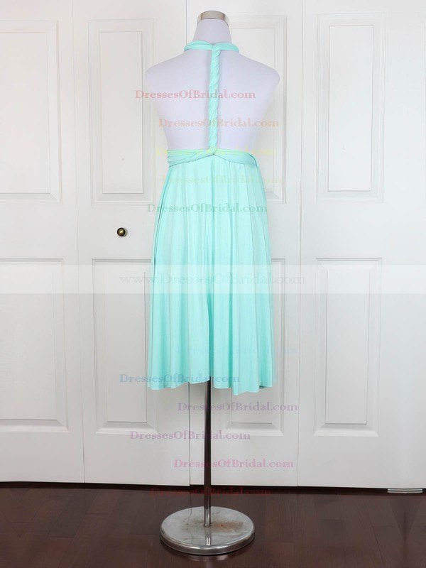 Jersey Empire V-neck Short/Mini with Ruffles Bridesmaid Dresses #DOB01013138