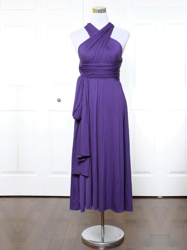 Jersey A-line V-neck Ankle-length with Ruffles Bridesmaid Dresses #DOB01013140