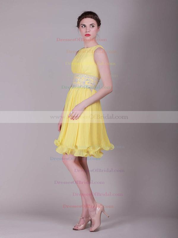 Bateau Sheath/Column Short/Mini Organza Ruffles Bridesmaid Dresses #DOB02013633