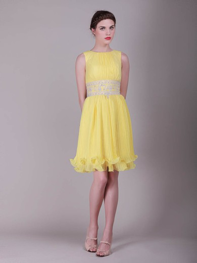 Bateau Sheath/Column Short/Mini Organza Ruffles Bridesmaid Dresses #DOB02013633