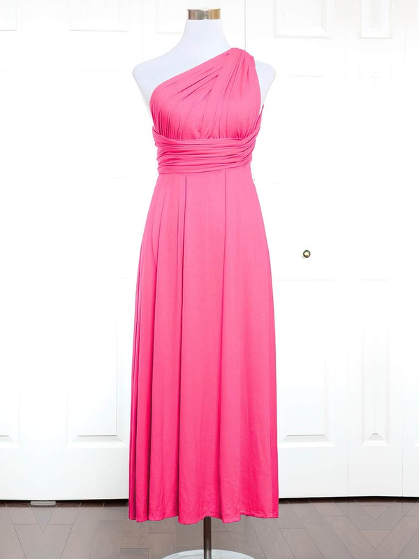Jersey A-line One Shoulder Ankle-length with Ruffles Bridesmaid Dresses #DOB01013144