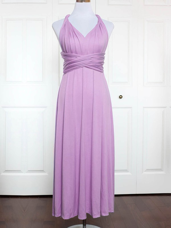 Jersey A-line V-neck Ankle-length with Ruffles Bridesmaid Dresses #DOB01013146