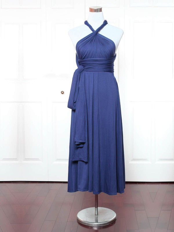 Jersey A-line V-neck Ankle-length with Ruffles Bridesmaid Dresses #DOB01013147
