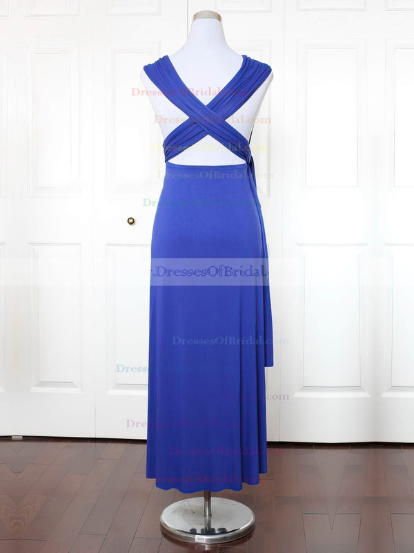 Jersey A-line V-neck Ankle-length with Ruffles Bridesmaid Dresses #DOB01013148