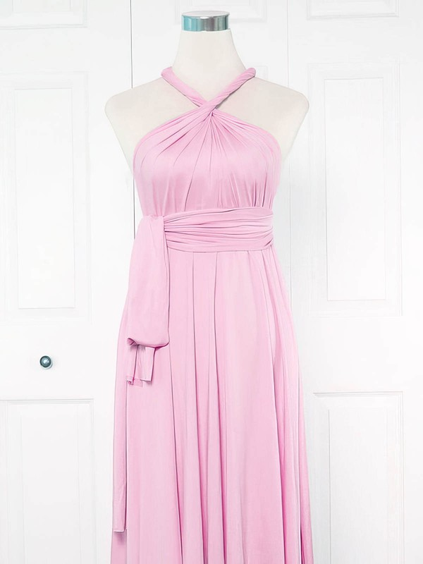 Jersey A-line V-neck Ankle-length with Ruffles Bridesmaid Dresses #DOB01013150