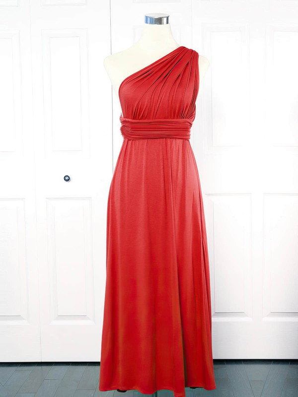 Jersey Empire One Shoulder Ankle-length with Ruffles Bridesmaid Dresses #DOB01013151