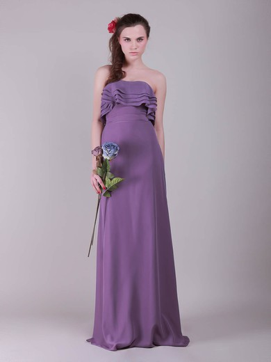 Strapless A-line Floor-length Chiffon Ruffles Bridesmaid Dresses #DOB02013635