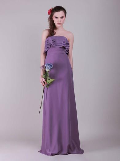 Strapless A-line Floor-length Chiffon Ruffles Bridesmaid Dresses #DOB02013635
