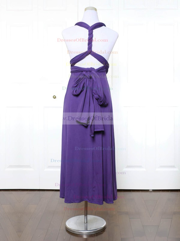 Jersey A-line V-neck Ankle-length with Ruffles Bridesmaid Dresses #DOB01013152