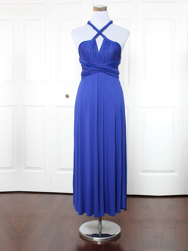 Jersey A-line V-neck Ankle-length with Ruffles Bridesmaid Dresses #DOB01013153