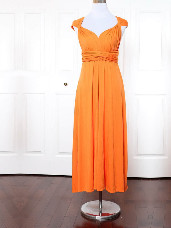 Jersey Empire V-neck Ankle-length with Ruffles Bridesmaid Dresses #DOB01013154