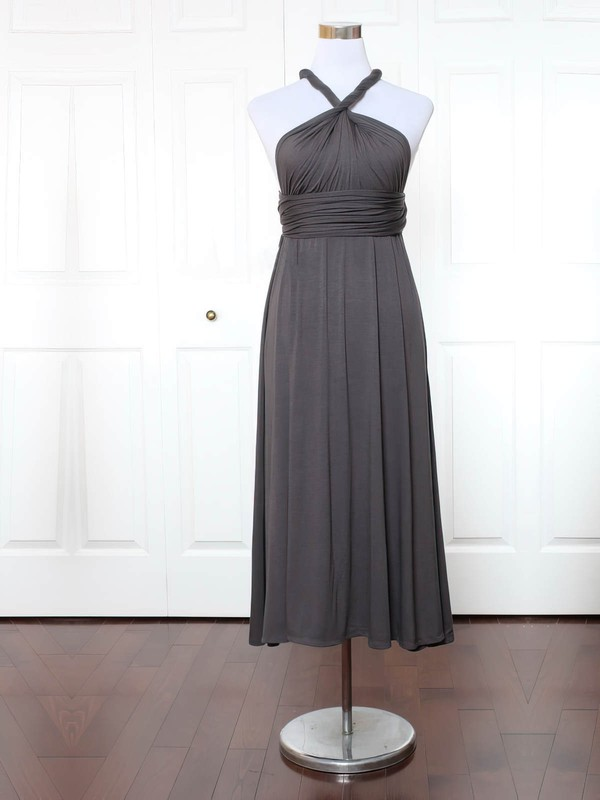 Jersey A-line V-neck Ankle-length with Ruffles Bridesmaid Dresses #DOB01013155