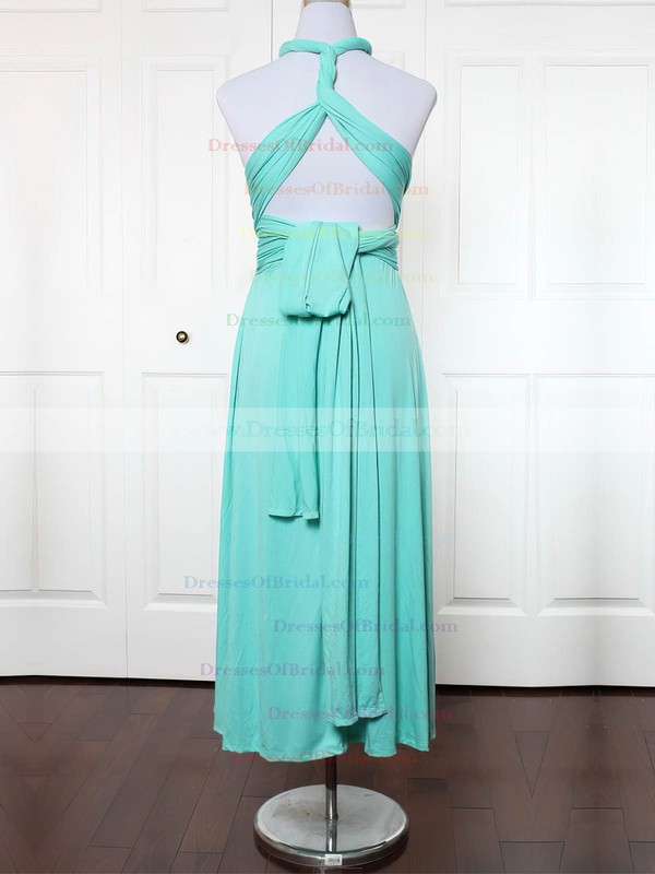 Jersey A-line V-neck Ankle-length with Ruffles Bridesmaid Dresses #DOB01013156
