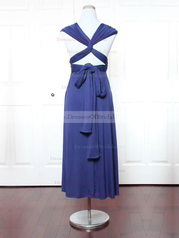 Jersey A-line V-neck Ankle-length with Ruffles Bridesmaid Dresses #DOB01013158