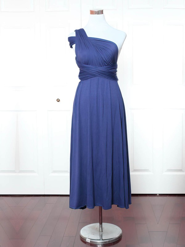 Jersey A-line One Shoulder Ankle-length with Ruffles Bridesmaid Dresses #DOB01013159