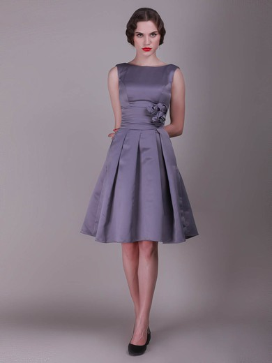 Bateau A-line Knee-length Taffeta Flower(s) Bridesmaid Dresses #DOB02013636