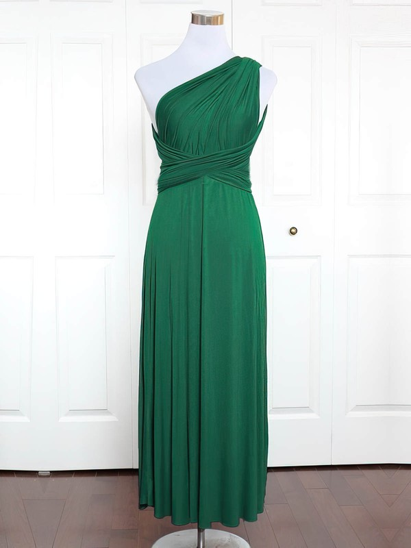 Jersey A-line One Shoulder Ankle-length with Ruffles Bridesmaid Dresses #DOB01013162