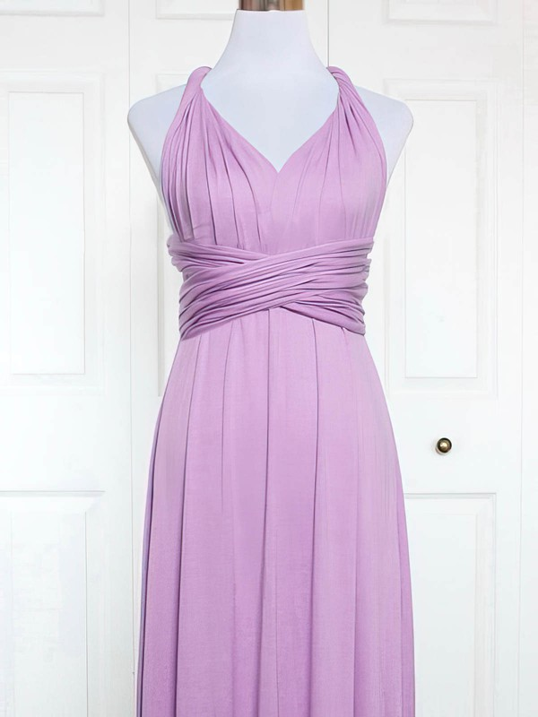 Jersey A-line V-neck Knee-length with Ruffles Bridesmaid Dresses #DOB01013164