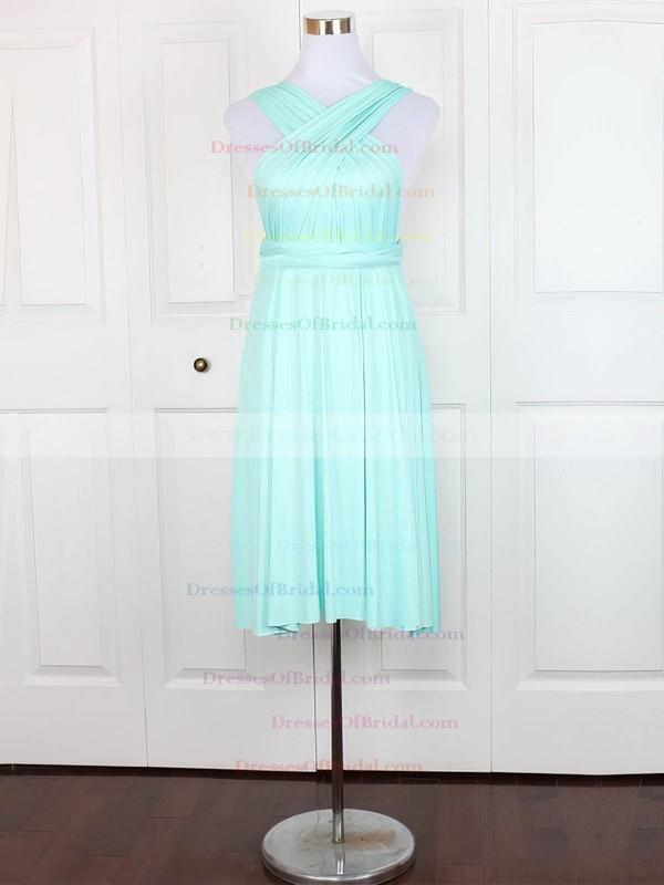 Jersey A-line V-neck Knee-length with Ruffles Bridesmaid Dresses #DOB01013164