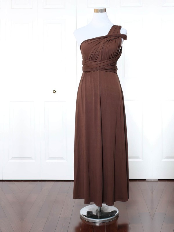 Jersey A-line One Shoulder Ankle-length with Ruffles Bridesmaid Dresses #DOB01013165
