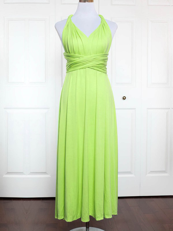 Jersey A-line V-neck Ankle-length with Ruffles Bridesmaid Dresses #DOB01013167