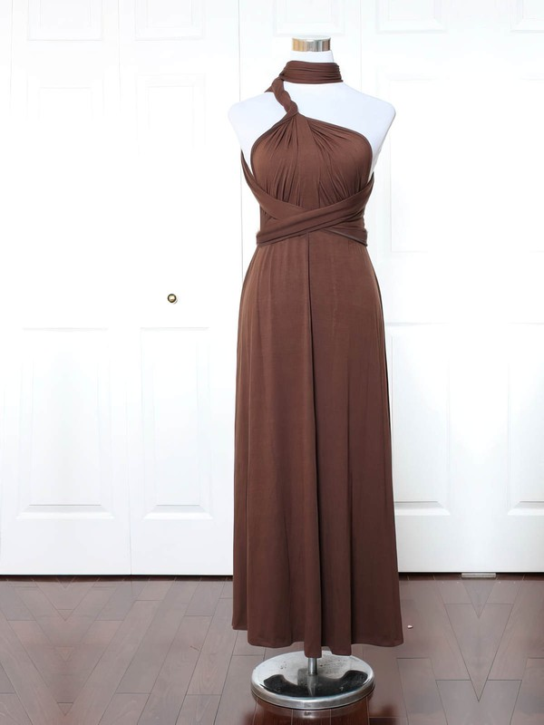 Jersey A-line High Neck Ankle-length with Ruffles Bridesmaid Dresses #DOB01013169