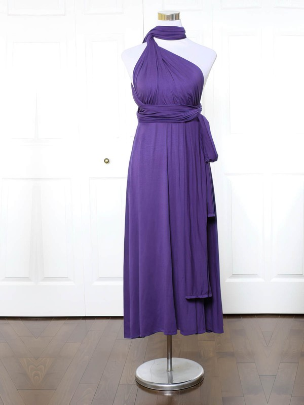 Jersey A-line High Neck Ankle-length with Ruffles Bridesmaid Dresses #DOB01013170