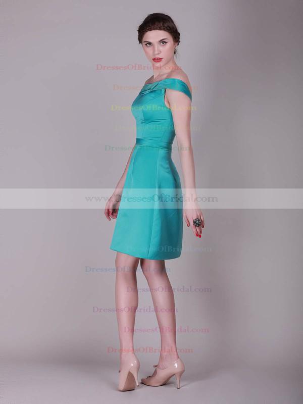 Off-the-shoulder A-line Knee-length Satin Draped Bridesmaid Dresses #DOB02013637