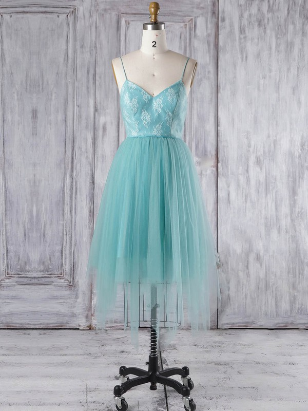 Tulle A-line V-neck Asymmetrical with Lace Bridesmaid Dresses #DOB01013348