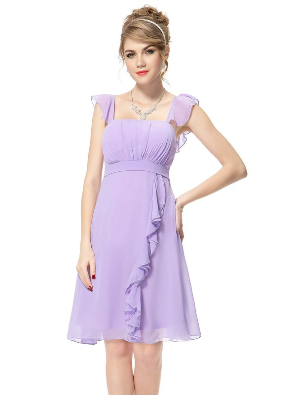 Chiffon Empire Square Neckline Short/Mini with Ruffles Bridesmaid Dresses #DOB01013392