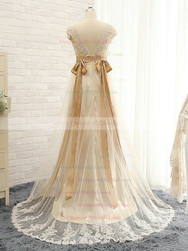 Tulle Empire V-neck Sweep Train with Appliques Lace Bridesmaid Dresses #DOB01013397